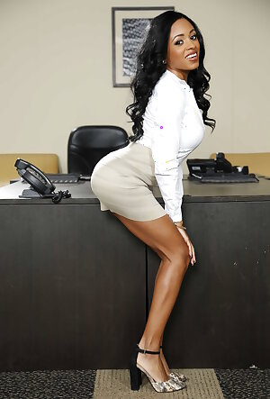 Gorgeous black secretary Anya Ivy shows her fantastic body in the office
