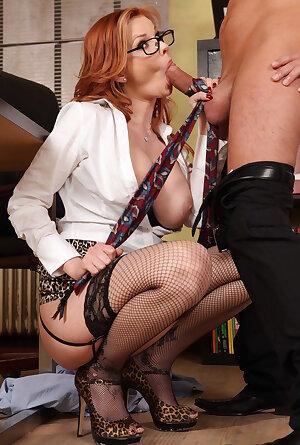 Nasty redhead secretary Tarra White blowjobs and fucks in the office