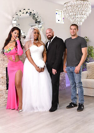 Buxom wives Bridgette B and Moriah Mills getting fucked by the best man in threesome