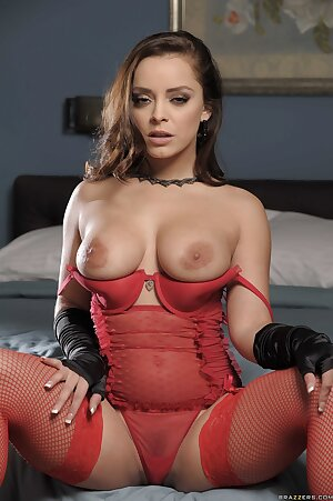 French solo model Liza Del Sierra displays her cunt in red fishnets