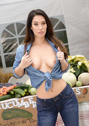 Beautiful model Eva Lovia in jeans undressing