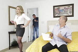 Stunning titted mommy Cory Chase seduces and screws her son\'s friend