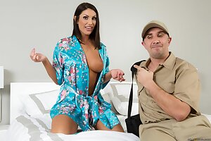 Busty Canadian wife August Ames gets pounded by a big dicked technician