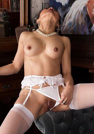 Asian mature Aya May naked in white stockings