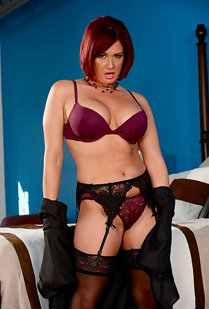 Redhead wifey Tory Lane touches her mature holes in exotic lingerie