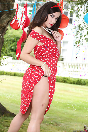 Sexy wife Cassidy Klein in red dress