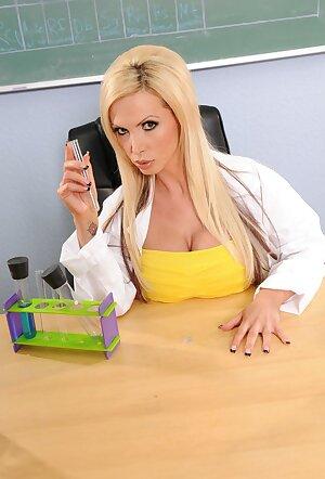 Chemistry teacher Nikki Benz her big tits in her classroom