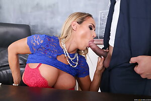Curvy teacher Tegan James gets fucked by a janitor