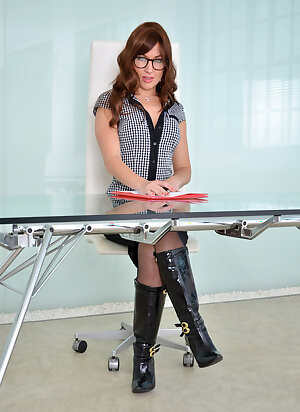 Naughty office MILF strips to sexy lingerie and flaunts her hairy pussy