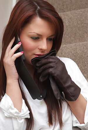Candi is in leather gloves