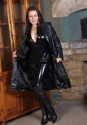 Very gorgeous UK brunette gets turned on wearing a tight leather catsuit