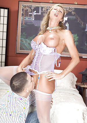 Hubby\'s away, so slut wife plays with young lover