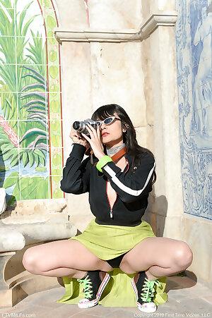 Sophia Jade posing in public