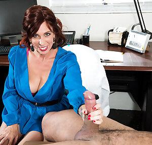 The Doctor Susanna Adams jerks off patient\'s big cock