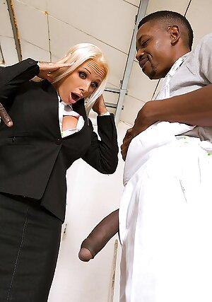 Horny MILF Sophie Anderson sucking black dicks