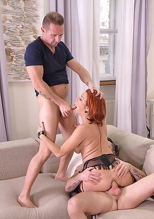 Busty brunette MILF\'s thrilling threesome
