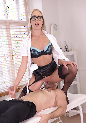 Stunning nurse Angelika Grays fucks with a patient at work