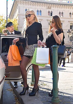 Two rich ladies in threesome with their limousine driver