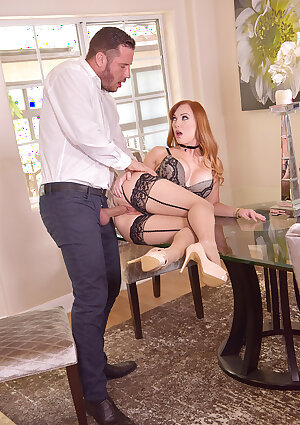 Glamour redhead lady Dani Jensen takes big dick in tight pussy and small mouth