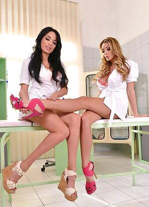 Two leggy nurses Anissa Kate and Stacey Saran