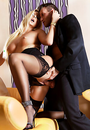 Rich mature blonde Jordan Sparx in nylons gets her pussy slammed with a fat cock