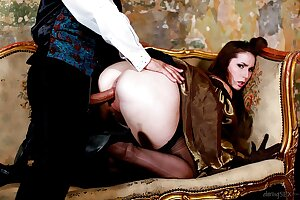 Lustful British brunette Paige Turnah gives a blowjob and gets banged