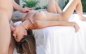 Skinny Latina MILF Eva Long is fucked next to pool