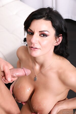 35-yo MILF brunette Becky Bandini gets her huge breast sucked and cunt fucked
