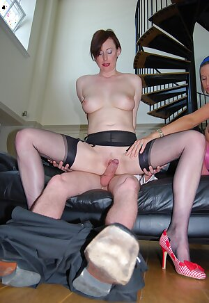 Brit slut finds herself in a hot threesome getting cock and cunt