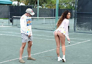 Cougar showing naked upskirt on tennis court before sucking big dick