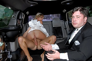 Just married bride fucks another guy in car in her wedding gown