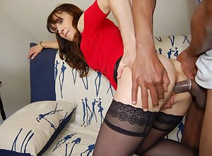 French mature slut loves a black cock up her old ass