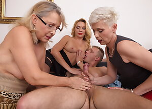 Three horny mature whores share one lucky guy