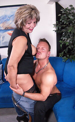 German grandma fucking and sucking her younger lover