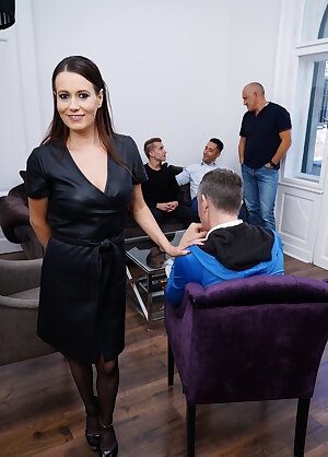 Naughty lady gets her fill from three guys