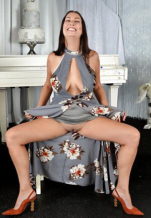 Amateur brunette Tiffany Cane in flowing dress