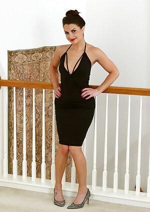 Gorgeous lady Alice Jensen in black dress