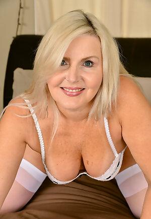 Old woman Velvet Skye in hot white lingerie