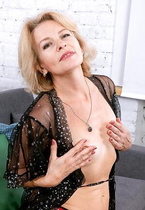 Older blondie Diana V see thru lingerie