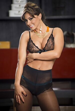 Amazing business woman Esperanza Gomez showing fit body at work