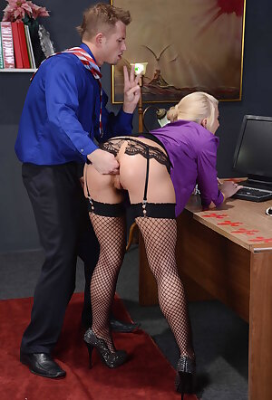 Blonde secretary Leya Falcon brutal fucking