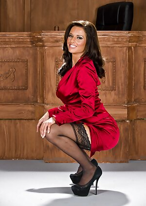 Mature lady lawyer Veronica Avluv strips to nylons and heels