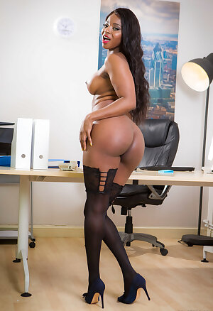 Hot ebony Jasmine Webb unveils her fake tits in the office