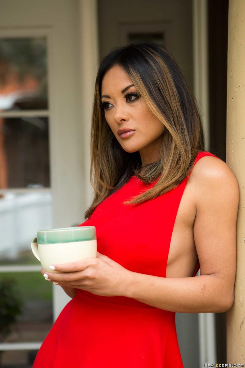 Petite Asian MILF Kaylani Lei posing in sexy lingerie
